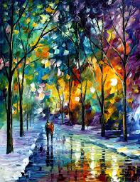 night colors palette knife contemporary art landscape oil painting on canvas by leonid afremov
