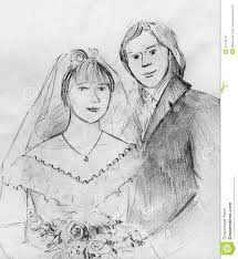 Pencil Sketches Of Couples Young Couple At Their Wedding Stock Illustration
