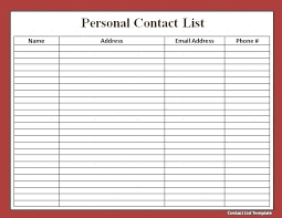 Free Contact List Template Inspiration Email List Template Free Word Excel Format Download Name Address