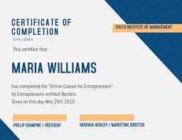 Certificate Of Completeion Blue Certificate Of Completion Design Template Postermywall