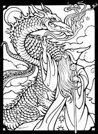 Dover Publications Free Sample Coloring Page Wizards Dragons Dragon Coloring Page Coloring Pages Coloring Books