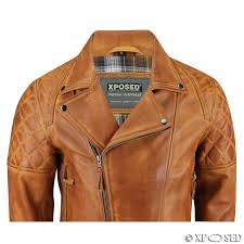 xposed men real leather biker jacket vintage washed