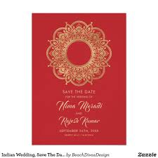 Indian Wedding Save The Date Red And Gold Save The Date