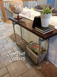 Easy DIY Sofa Table with pipe frame Sofa tables Pipes and Consoles