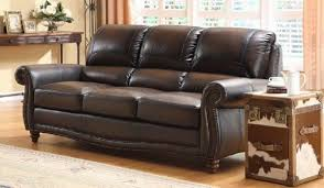 Furniture:Elegant Brown Italian Sofa With Thick Accent And Black Brown Tone  With Glossy Look
