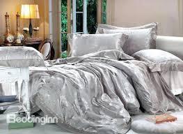 silver bedding contemporary silver grey snowflake jacquard 4 piece satin bedding sets silver bedding sets full