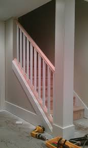 basement stairs railing. Basement Stair Removing Part Of The Wall And Replacing It With Lovely Unfinished Railing Stairs 4