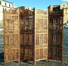carved wood screen panels room dividers 4 panel hand wooden outdoor