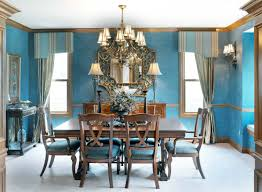 blue dining room color ideas. Enchanting Traditional Blue Dining Room Decors With Vintage Brushed Bronze Chandelier Over Rectangle Wooden Table Set Also Handmade Valance And Color Ideas R
