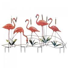 pink flamingo yard decoration metal garden stake outdoor decorative iron