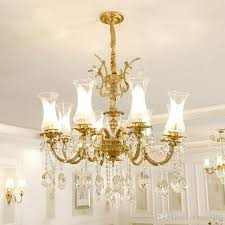 100 copper crystal chandelier lighting luxurious bronze e14 crystal lamp re suspension light home decoration table chandelier ball chandelier from