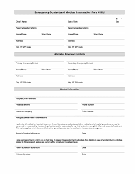 Emergency Contact Forms For Children Childs Emergency Contact And Medical Information Templates