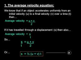 the average velocity equation