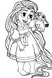 Rapunzel Coloring Pages Easy Fearsome Princess Striking Repunzel