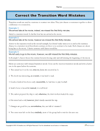 Correct The Transition Word Mistakes Worksheet