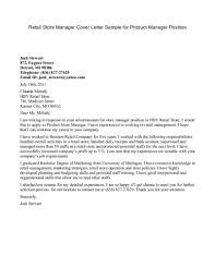 Store Manager Cover Letter Enchanting Sample Cover Letter For Retail Store Manager 24 With 8