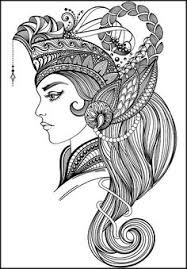 Small Picture Coloring Pages for Adult Indian Woman Adult por AnnaWiltonArt