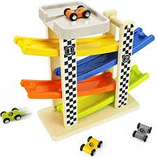 switchback racetrack two lanes car racing tower wooden toy ramp race iplay ilearn