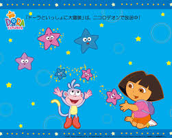blue dora the explorer wallpaper with stars and boots
