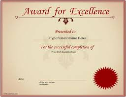 Award Of Excellence Certificate Template Business Certificate Excellence Award Certificate 28