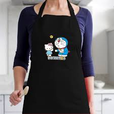 Tạp Dề Làm Bếp In Hình Doraemon và hello kitty - ABXDANH004-3600x4800 – Màu  Đen - Tạp dề Thương hiệu OEM