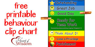 Free Printable School Charts Free Printable Clip Chart Behavior System Heart Of Wisdom