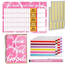 Details About 5 Stone Weight Loss Chart Food Diary Book Diet Planner Journal Slimming Set