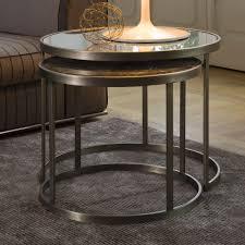 mirrored italian designer round side table set