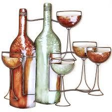 wine bottle metal wall art