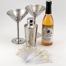 martini gift set includes olive picks shaker glasses and brine
