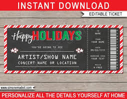 Show Ticket Template Printable Concert Ticket Template Holiday Gift Surprise Show