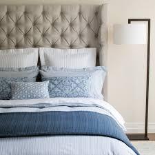 blue ticking stripe bed linen closeup