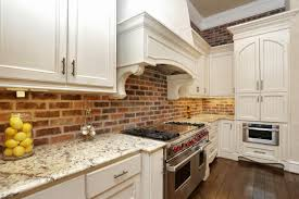 Exposed Brick Kitchen Fine White Kitchen Exposed Brick With Wall Containing Island