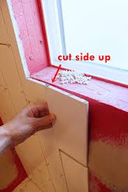 diy tile shower tub surround window tiling