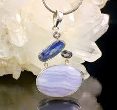 blue lace agate kyanite pendant