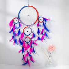 Asian Dream Catcher 100 Traditional Blue Magenta Dream Catcher with Feathers Wall or 71