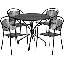 35 25 round black indoor outdoor steel patio table set with 4 round back