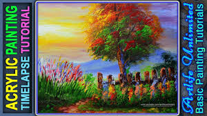 acrylic landscape painting tutorial during sunset with flowers and tree basic painting tutorial