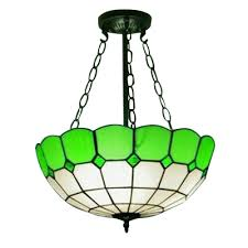 16 wide inverted handmade stained glass shade hanging chandelier