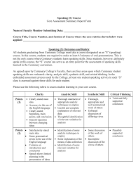 Analytic Skill Speaking S Core Assessment Summary Report Form