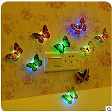 <b>10pcs</b>/<b>lot</b> Color <b>Butterfly</b> Mix Wall Stickers Night Light LED Flashing ...