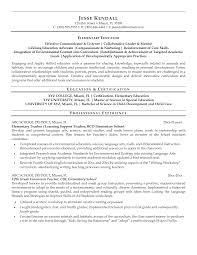 Elementary Education Resume Examples