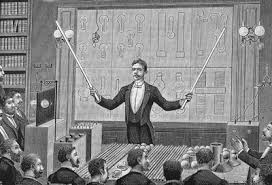 nikola tesla alternating current. an engraving shows inventor nikola tesla delivering a lecture to the french physical society and alternating current