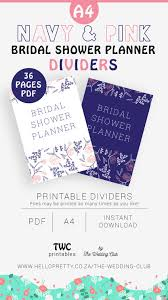 Dividers For Navy Bridal Shower Planner Includes Blue And White Versions Read Description For List