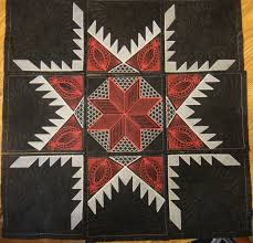 I Quilt Scarlet and Gray: Feathered Star Whole Cloth Wall Hanging ... & Feathered Star Whole Cloth Wall Hanging is put together!!! Adamdwight.com