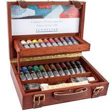 sennelier oil colour wooden box set 22 x 40ml with accessories jackson s art supplies