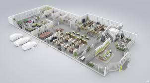 3d office floor plan. Perfect Office 3D Floor Plan Of A Modern Green Office Throughout 3d