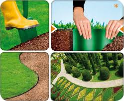 Flexible garden lawn grass edge x brown edger edging border wall