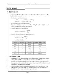 13 Skills Worksheet Math Skills Conversions Answers Math
