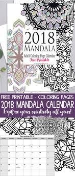 2018 Mandala Adult Coloring Page Calendar